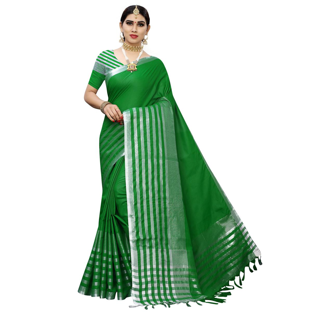 Imposing Green Colored Casual Printed Cotton Silk Saree With Tassels