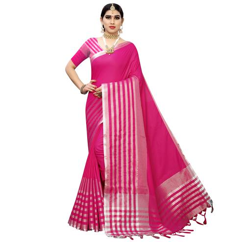 Lovely Pink Colored Casual Printed Cotton Silk Saree With Tassels
