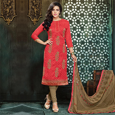 Coral Red Embroidered Work Dress Material