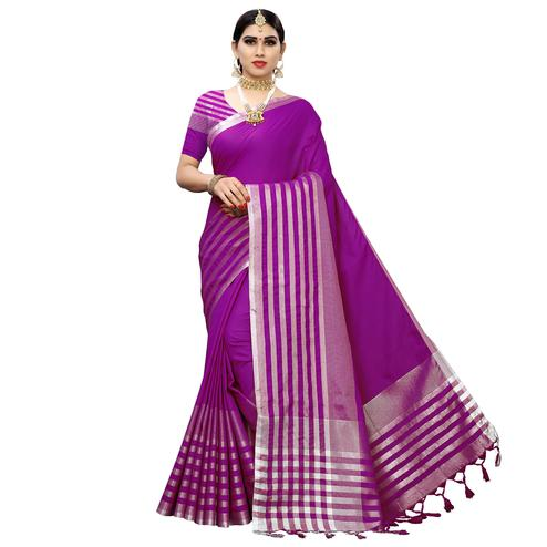 Majesty Purple Colored Casual Printed Cotton Silk Saree With Tassels