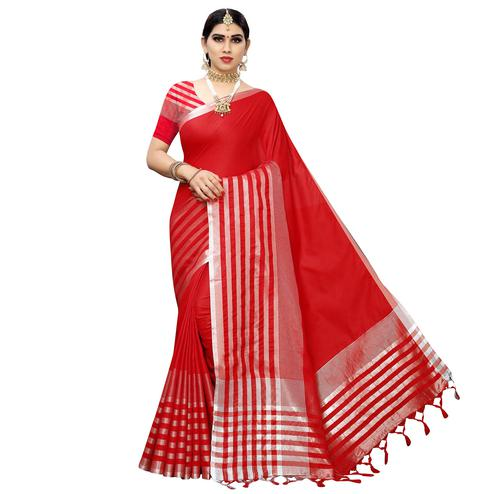 Mesmerising Red Colored Casual Printed Cotton Silk Saree With Tassels