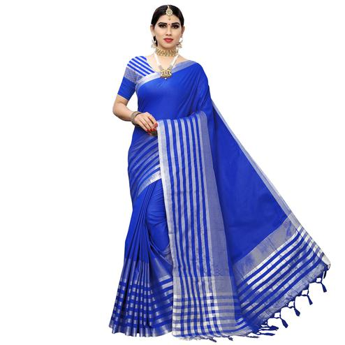 Pleasance Royal Blue Colored Casual Printed Cotton Silk Saree With Tassels