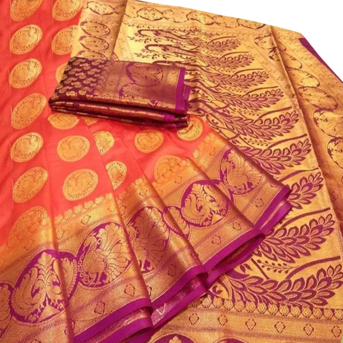Magnetic Orange Colored Festive Wear Woven Silk Blend Saree