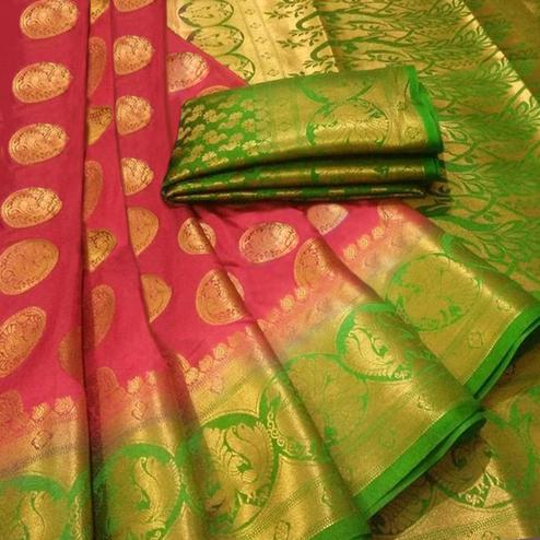 Hypnotic Maroon Colored Festive Wear Woven Silk Blend Saree