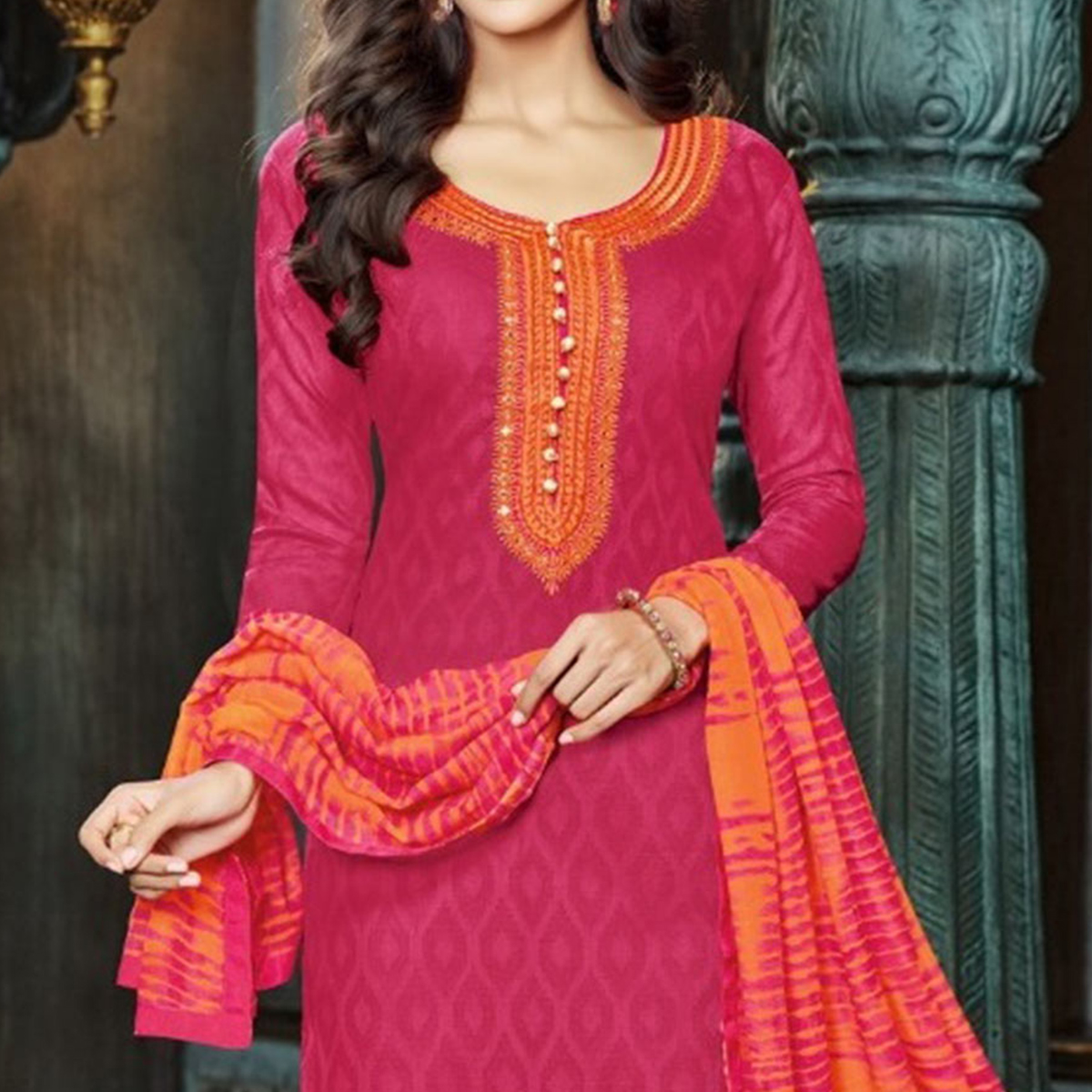 Pink - Orange Embroidered Suit