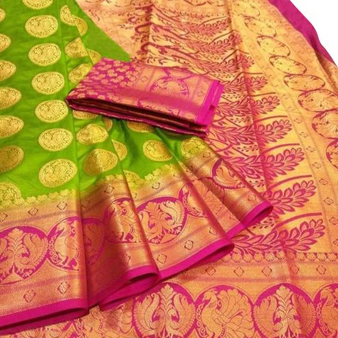 Preferable Green Colored Festive Wear Woven Silk Blend Saree