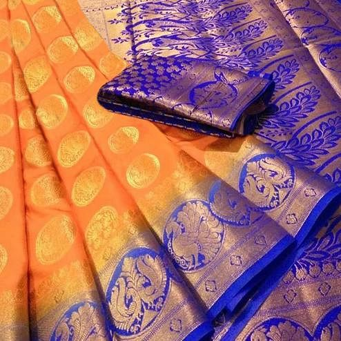 Flamboyant Orange Colored Festive Wear Woven Silk Blend Saree