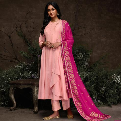 Flattering Pink Colored Partywear Embroidered Silk Kurti-Palazzo Set With Banarasi Dupatta