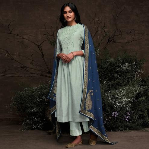 Excellent Light Blue Colored Partywear Embroidered Silk Kurti-Palazzo Set With Banarasi Dupatta