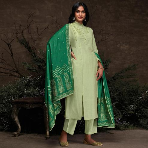 Preferable Mint Green Colored Partywear Embroidered Silk Kurti-Palazzo Set With Banarasi Dupatta