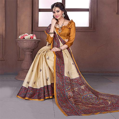 Cream - Red Khadi Silk Saree