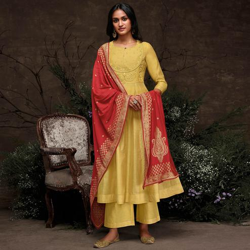 Alluring Yellow Colored Partywear Embroidered Silk Kurti-Palazzo Set With Banarasi Dupatta