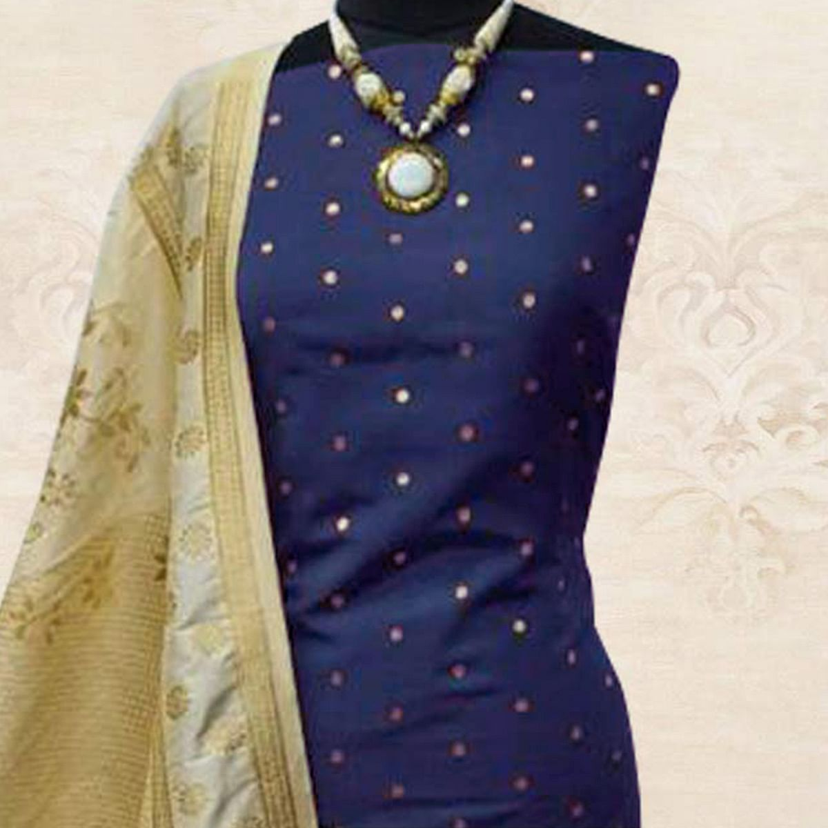 Glowing Navy Blue Colored Festive Wear Woven Satin Dress Material With Banarasi Silk Dupatta