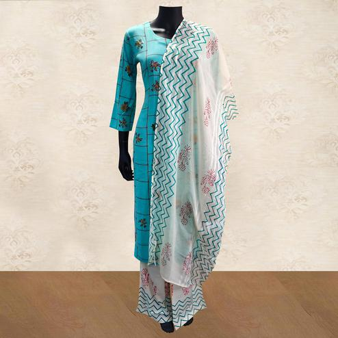 Intricate Aqua Blue Colored Partywear Handwork Cotton Kurti-Palazzo Set With Dupatta
