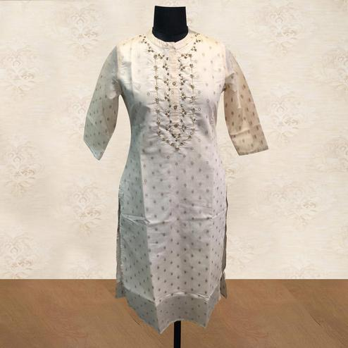 Appealing White Colored Partywear Handwork Cotton Kurti
