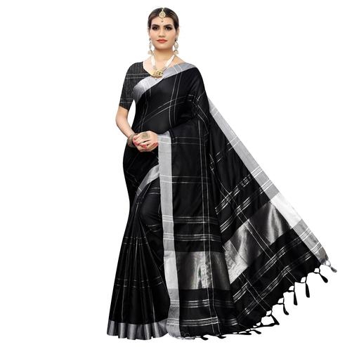 Adorable Black Colored Festive Wear Linen Saree With Tassels