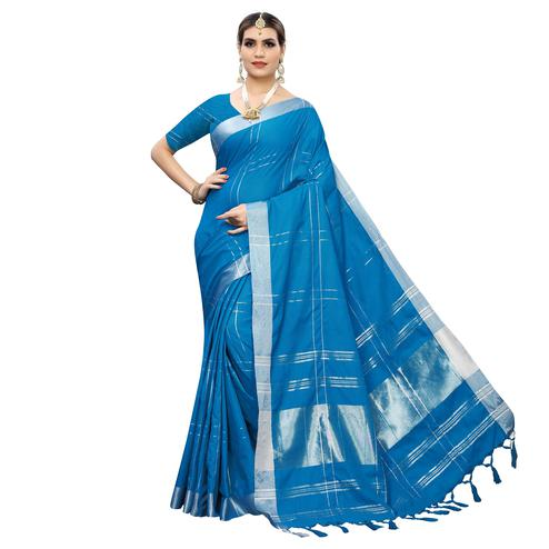 Glorious Blue Colored Festive Wear Linen Saree With Tassels