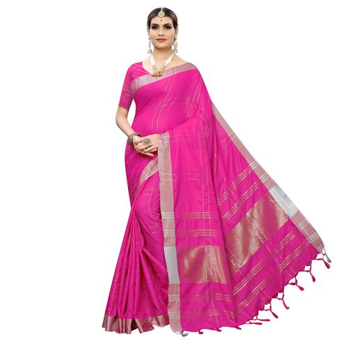 Beautiful Pink Colored Festive Wear Linen Saree With Tassels
