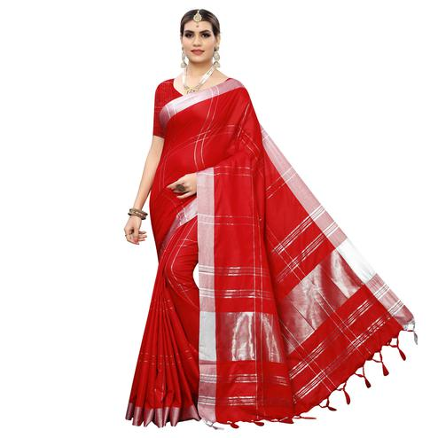 Charming Red Colored Festive Wear Linen Saree With Tassels