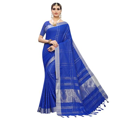 Jazzy Royal Blue Colored Festive Wear Linen Saree With Tassels