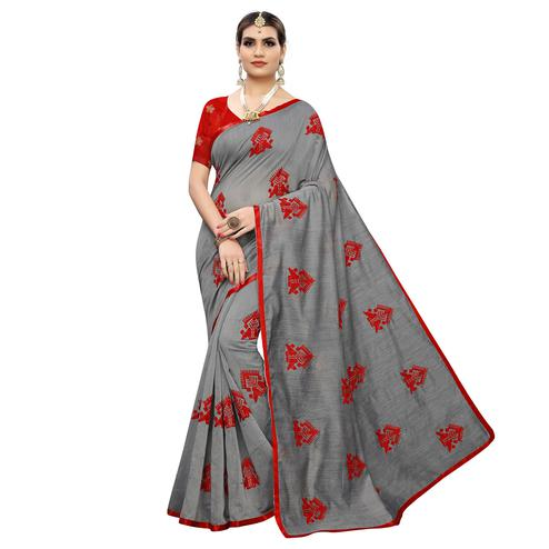 Eye-catching Grey Colored Party Wear Embroidered Chanderi Silk Saree