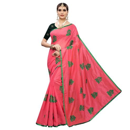 Fantastic Pink Colored Party Wear Embroidered Chanderi Silk Saree