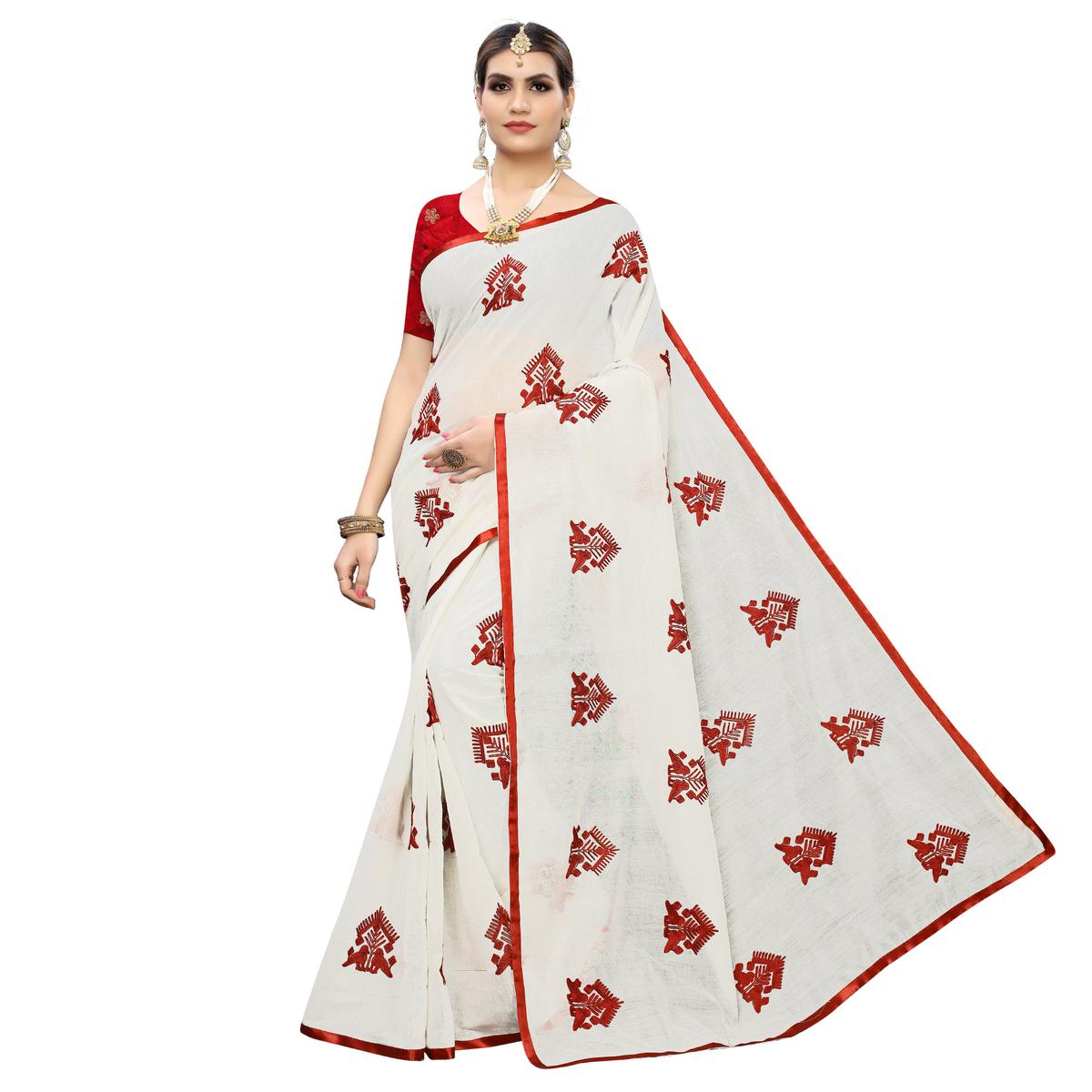 Amazing White Colored Party Wear Embroidered Chanderi Silk Saree