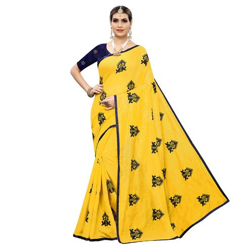 Gorgeous Yellow Colored Party Wear Embroidered Chanderi Silk Saree