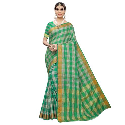 Imposing Green Colored Festive Wear Checks Printed Cotton Silk Saree