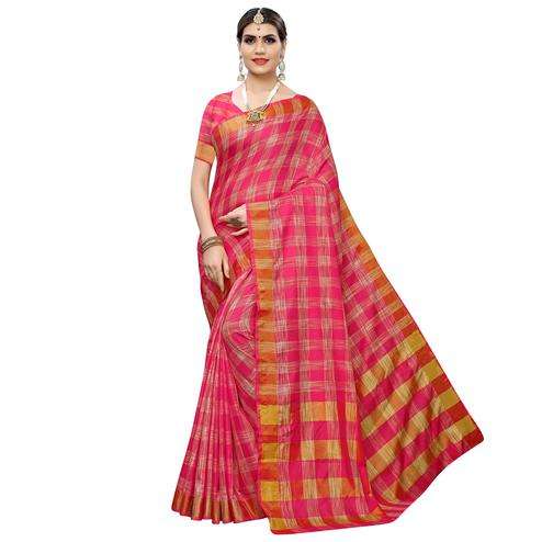 Majesty Pink Colored Festive Wear Checks Printed Cotton Silk Saree