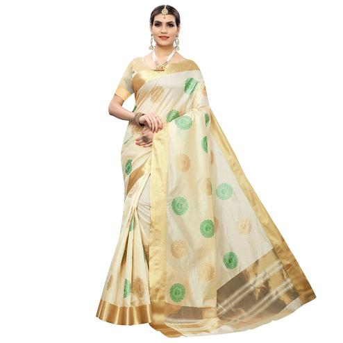 Intricate Cream-Green Colored Festive Wear Woven Cotton Silk Saree