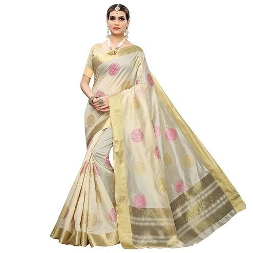 Arresting Cream-Pink Colored Festive Wear Woven Cotton Silk Saree