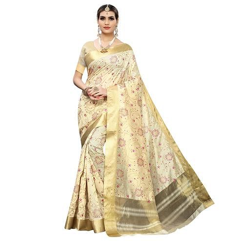 Desirable Cream Colored Festive Wear Woven Cotton Silk Saree