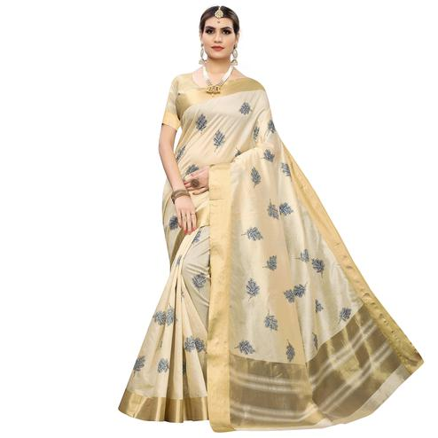 Exotic Cream Colored Festive Wear Woven Cotton Silk Saree
