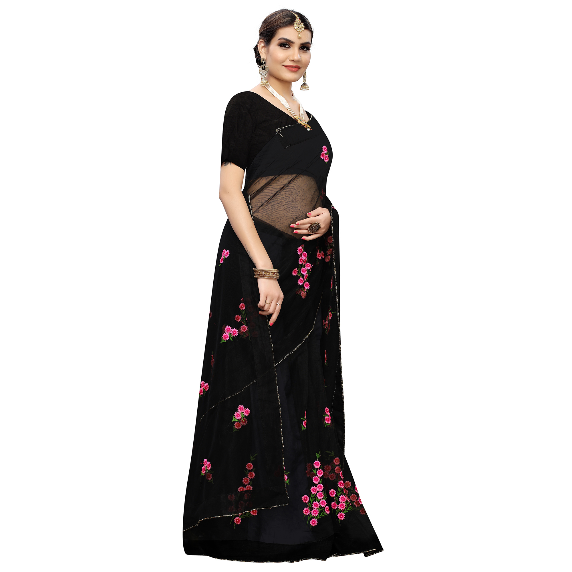 Energetic Black Colored Party Wear Embroidered Net Saree