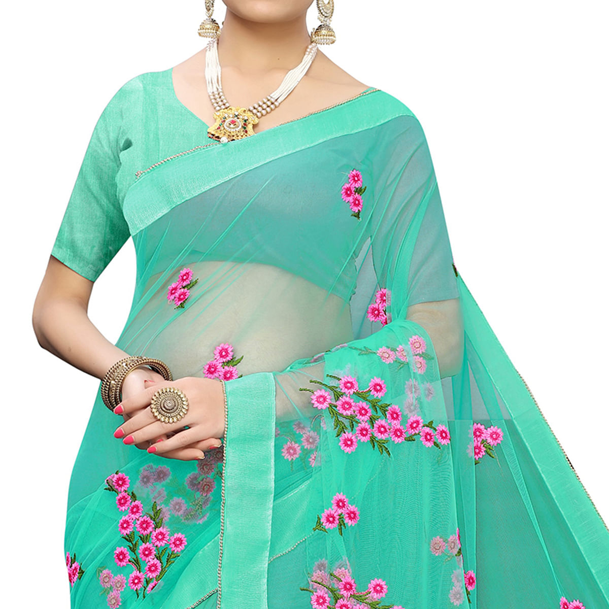 Glowing Turquoise Green Colored Party Wear Embroidered Net Saree
