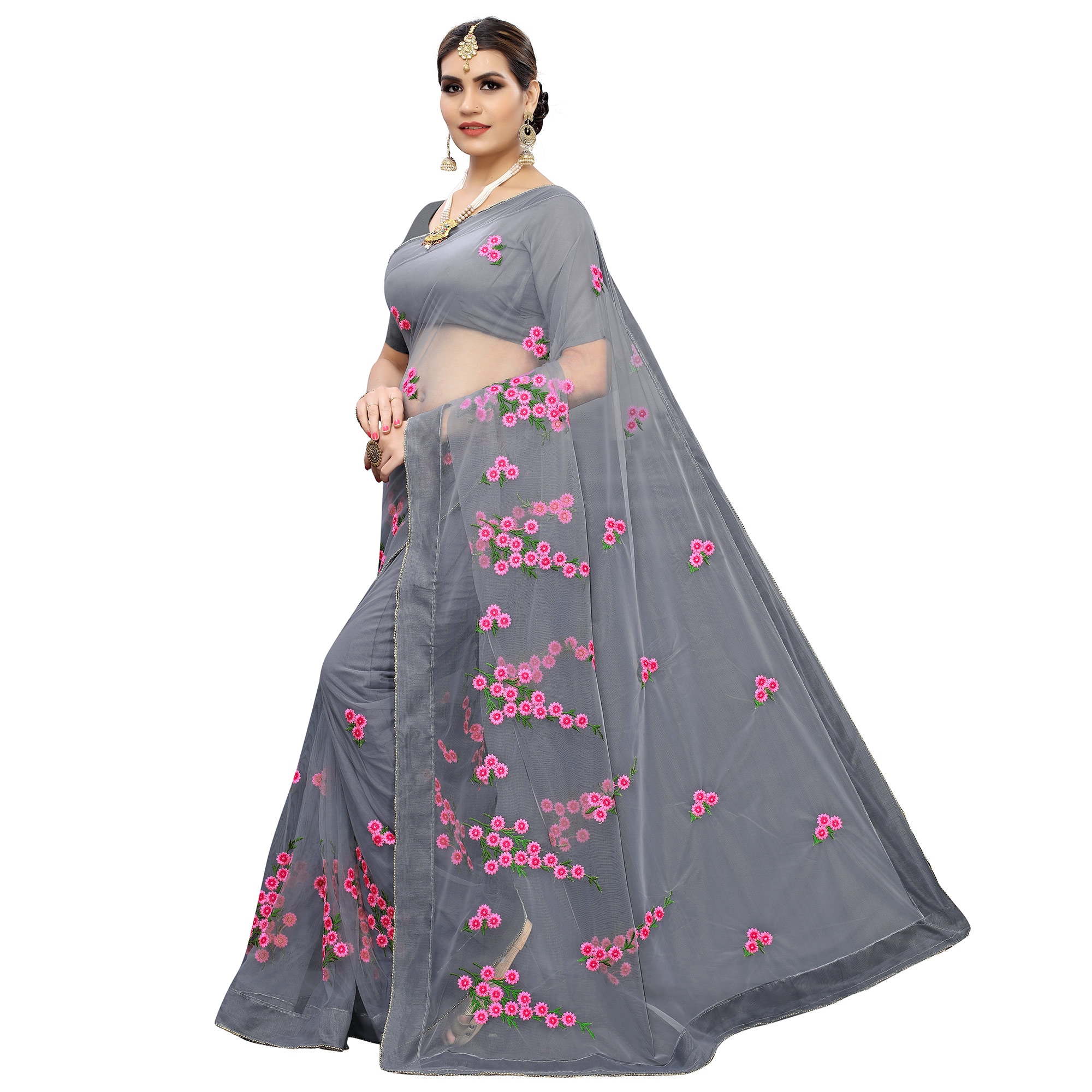 Classy Grey Colored Party Wear Embroidered Net Saree
