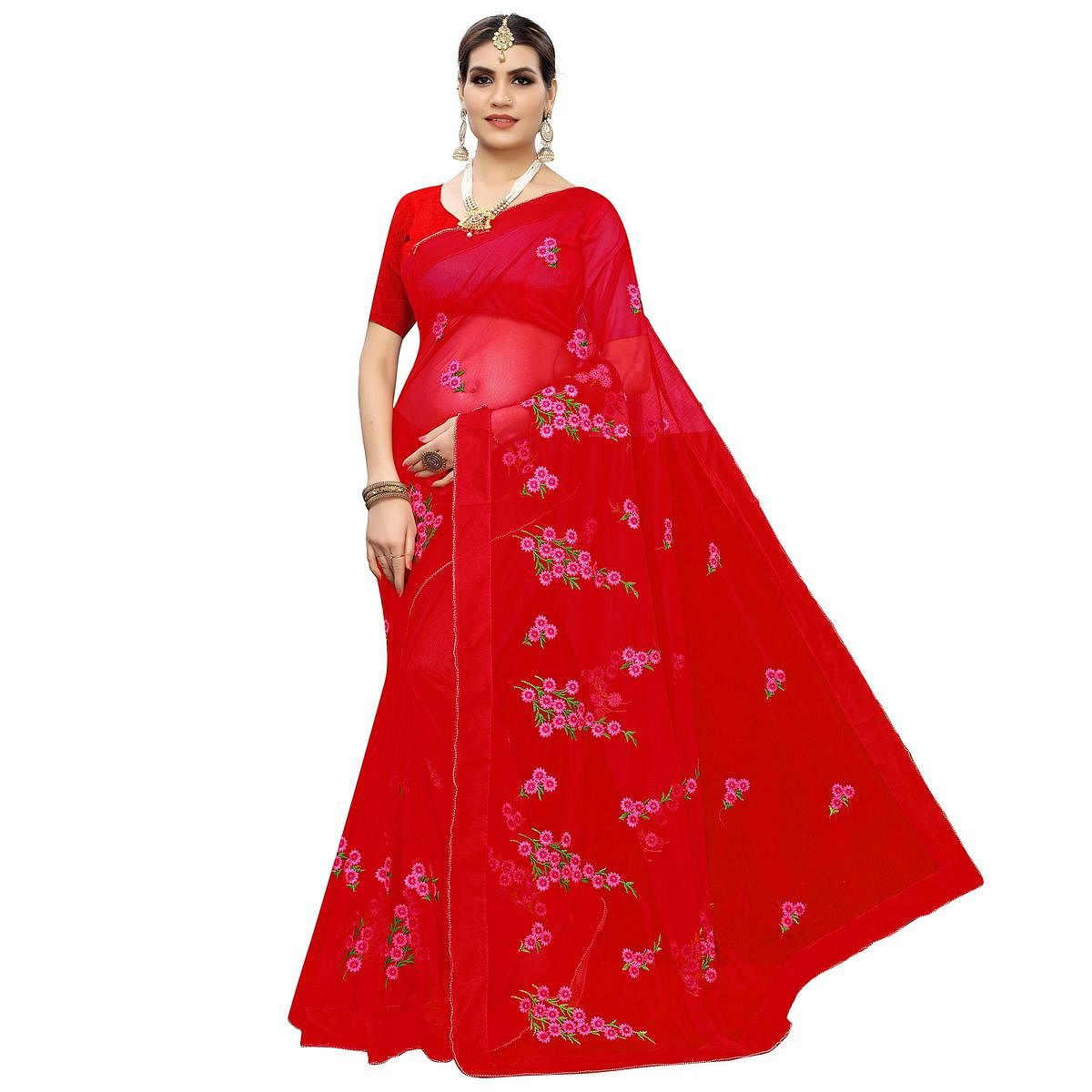 Prominent Red Colored Party Wear Embroidered Net Saree