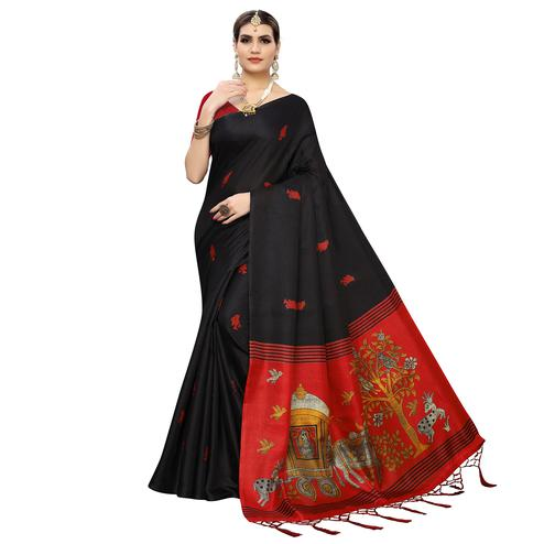 Adorable Black Colored Casual Wear Printed Cotton Silk Saree With Tassles