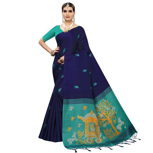 Attractive Navy Blue Colored Casual Wear Printed Cotton Silk Saree With Tassles