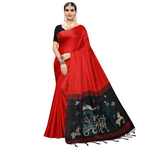 Beautiful Red Colored Casual Wear Printed Cotton Silk Saree With Tassles