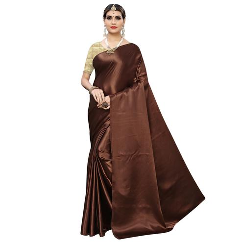 Graceful Brown Colored Party Wear Satin Saree