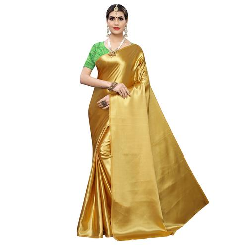 Blooming Gold Colored Party Wear Satin Saree
