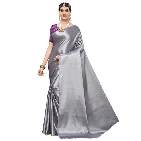 Charming Grey Colored Party Wear Satin Saree