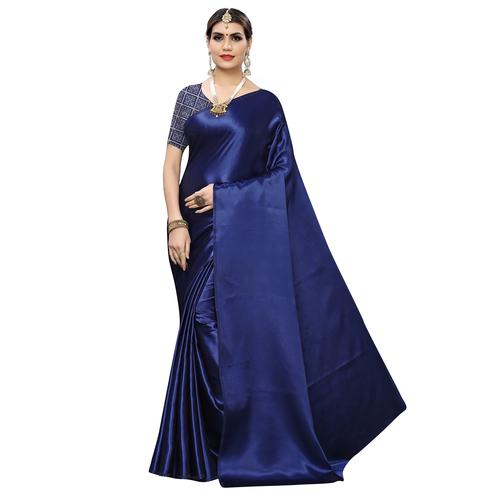 Jazzy Navy Blue Colored Party Wear Satin Saree