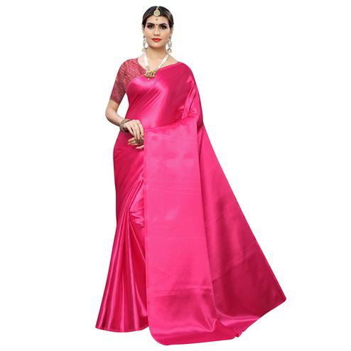 Delightful Pink Colored Party Wear Satin Saree