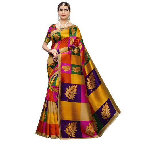 Engrossing Multi Colored Festive Wear Printed Art Silk Saree