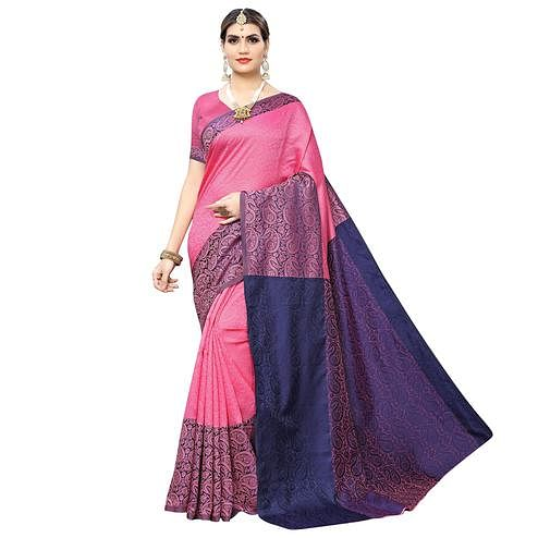 Desirable Pink Colored Casual Wear Printed Banarasi Silk Saree