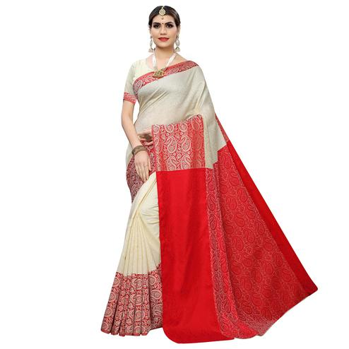 Classy White Colored Casual Wear Printed Banarasi Silk Saree