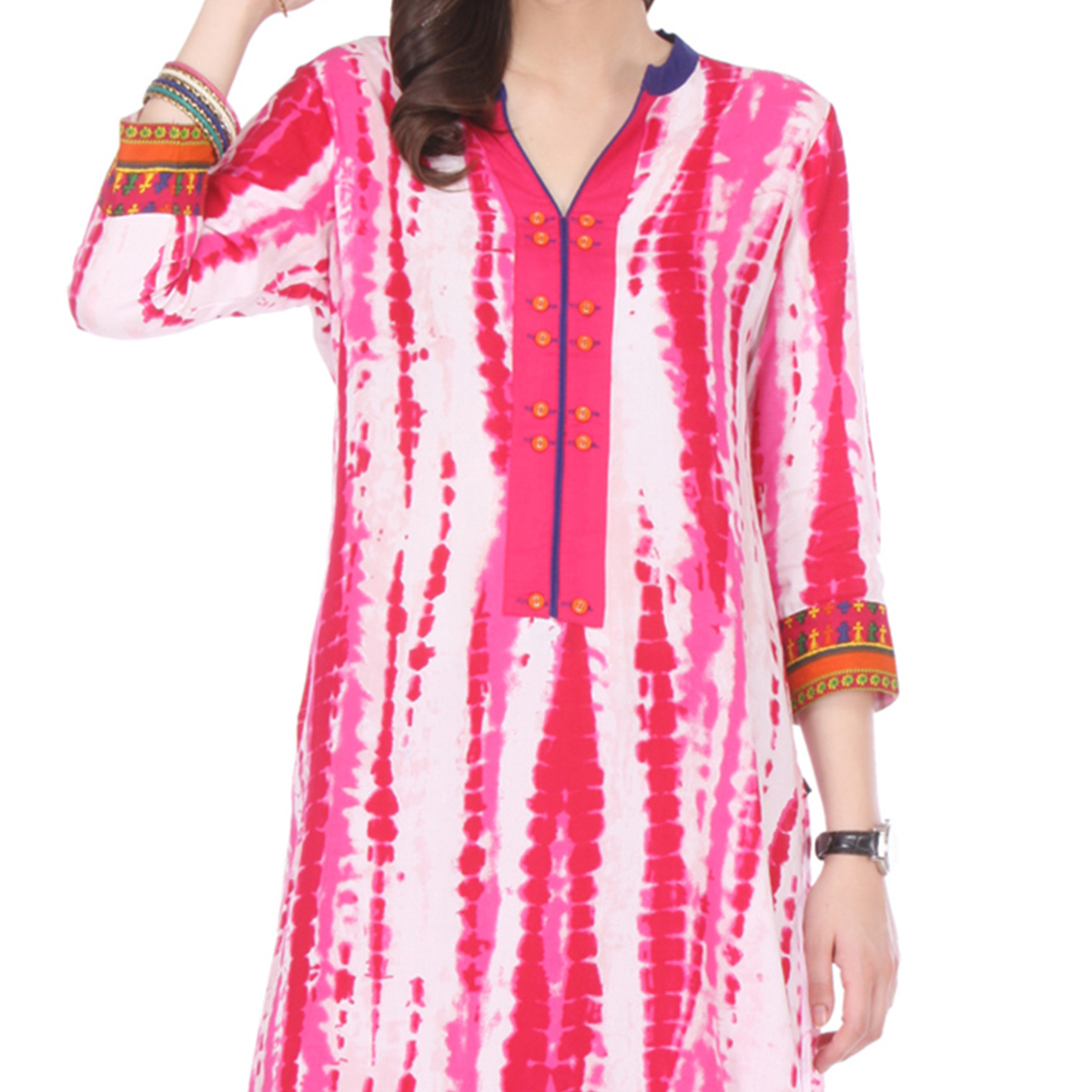 Multi Colored Printed Rayon Kurti